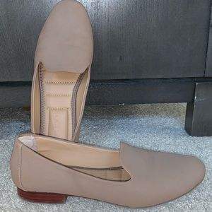 Nude suede loafers. Size 8.